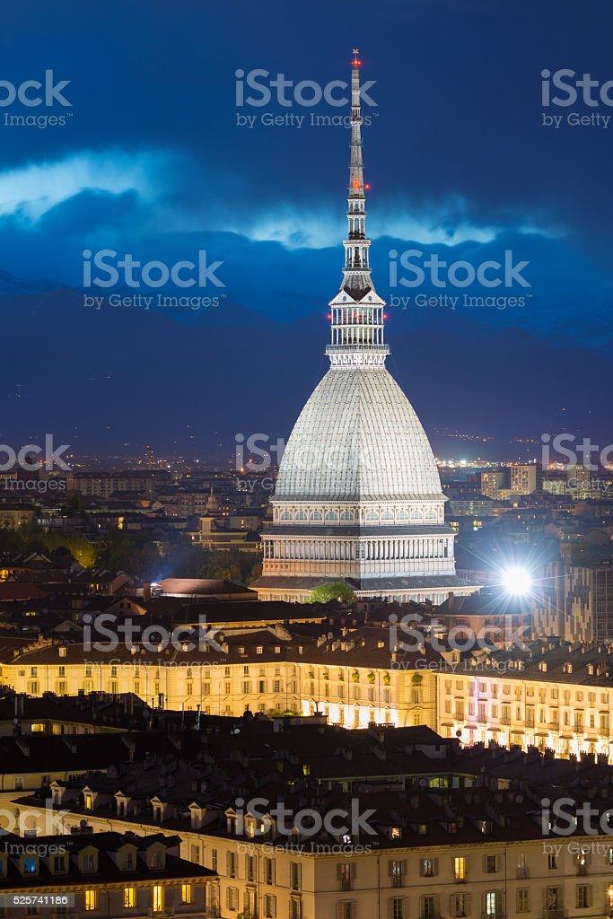 Glowing cityscape of Torino (Turin, Italy) at dusk stock photo