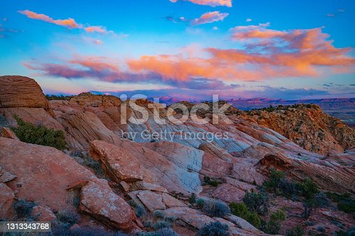 istock Glowing Clouds Over Yant Flats as the Sun Sets 1313343768