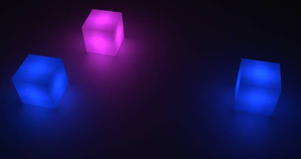 Glowing cubes with dark background. 3d rendering stock photo