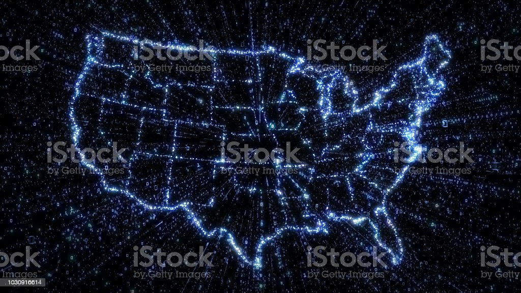 Glowing digital map of USA with exploding binary data royalty-free stock photo
