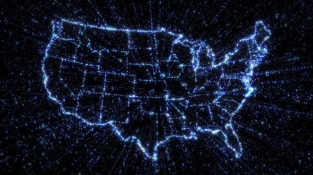 Glowing digital map of USA with exploding binary data stock photo