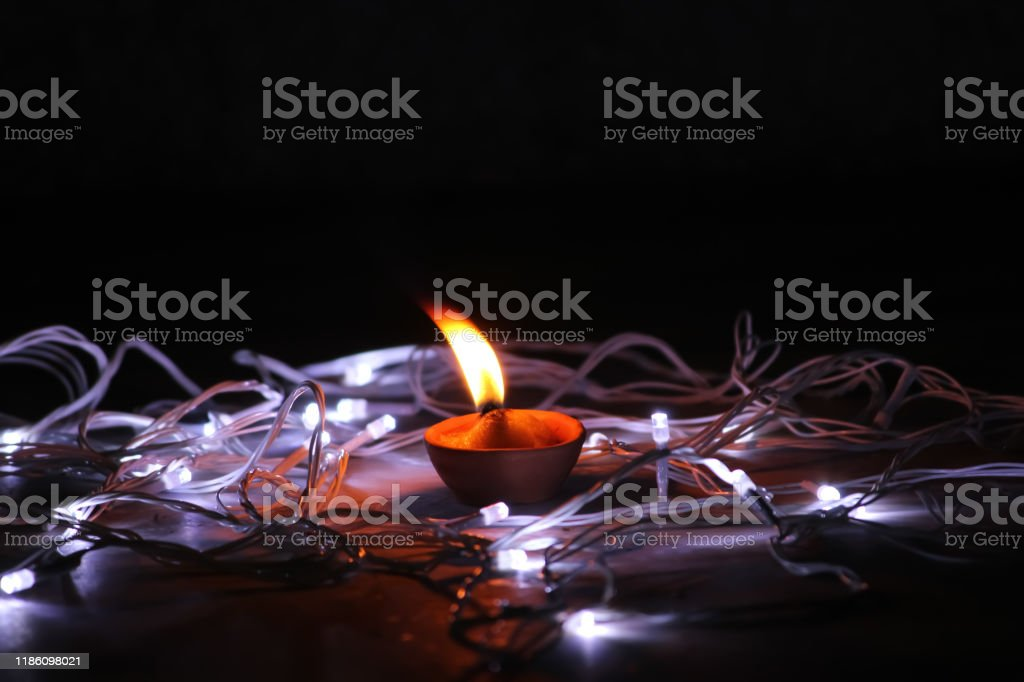 Glowing Diya With Dark Background With Led Lights Stock Photo Download Image Now Istock