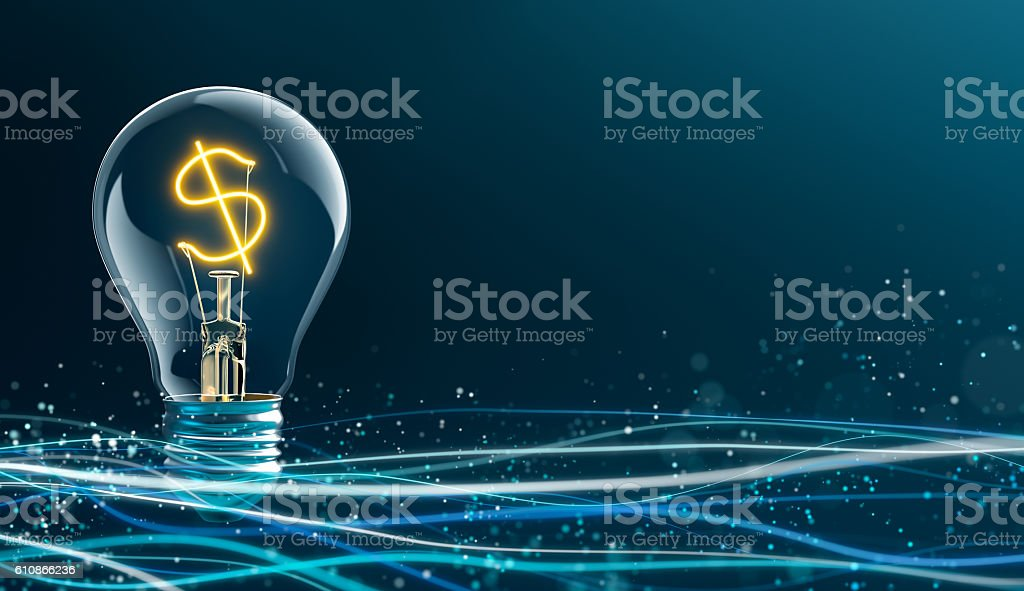 Glowing Dollar sign in light bulb stock photo