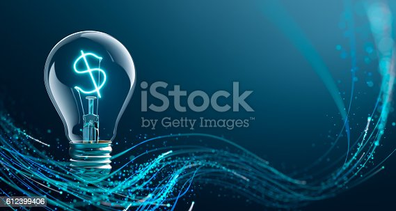 Glowing Dollar sign in light bulb - 3D Rendering