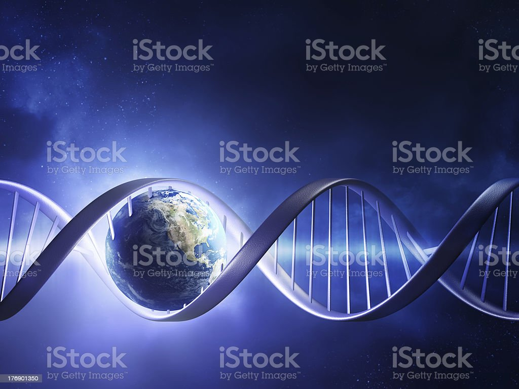 Glowing earth DNA strand stock photo