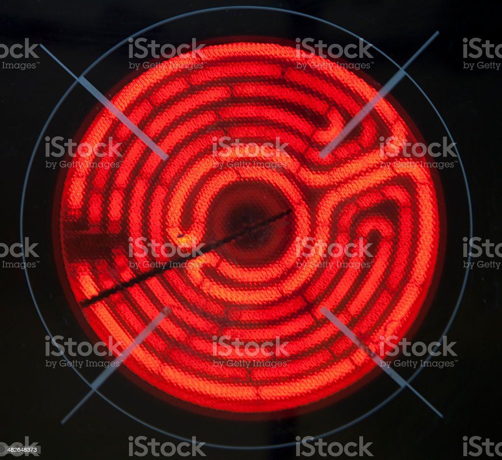 Glowing Electric Hob Heating Element stock photo