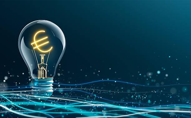 glowing euro sign in light bulb - euro symbol stock-fotos und bilder
