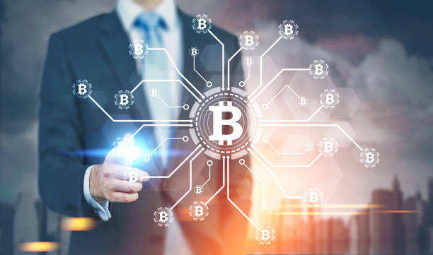 Glowing finger businessman, bitcoin network stock photo