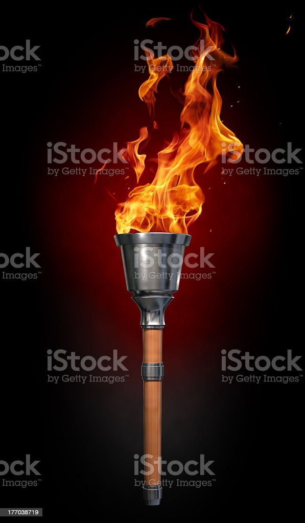 Glowing Olympic flame graphic on black background stock photo