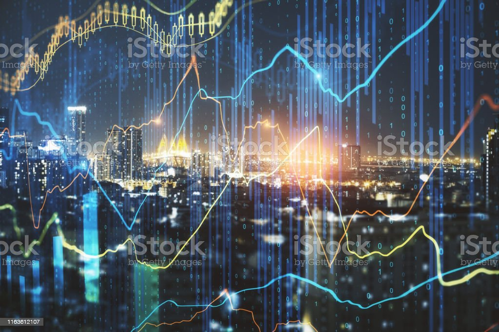 Glowing forex chart on city background Glowing forex chart on night city background with candlestick line. Finance. trade and invest concept. Double exposure Analyzing Stock Photo