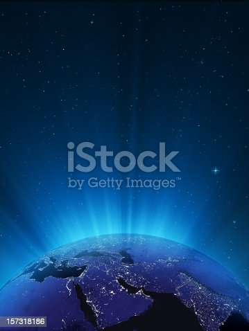 istock Glowing Globe at Night Series - Middle East 157318186