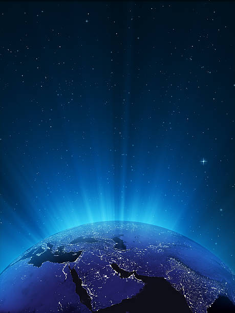 Glowing Globe at Night Series - Middle East stock photo