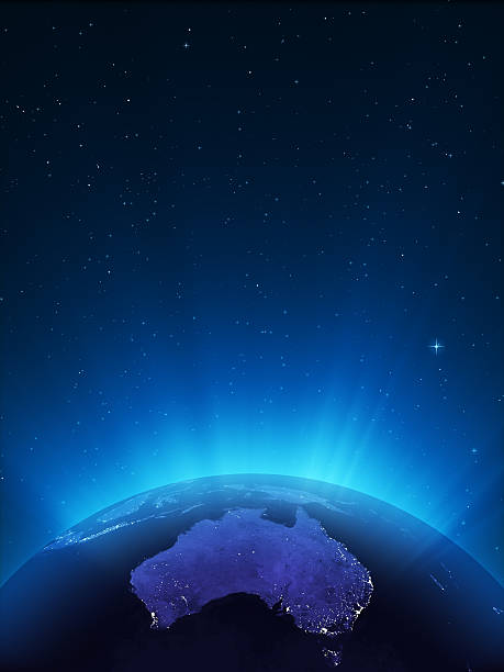 glowing globe at night series - oceania - earth from space bildbanksfoton och bilder