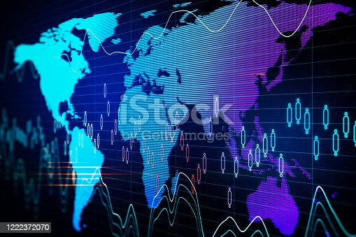 1177116437 istock photo Glowing globe with digital business interface 1222372070