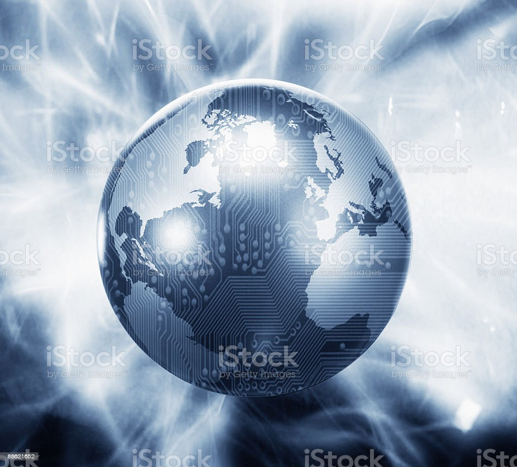 Glowing globe with microchip overlay royalty-free stock photo