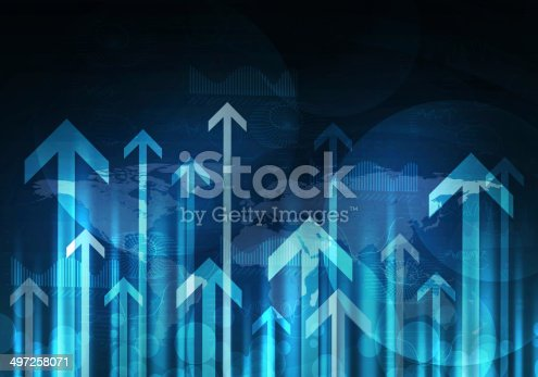 istock Glowing graphs and arrows. Hi-tech background 497258071