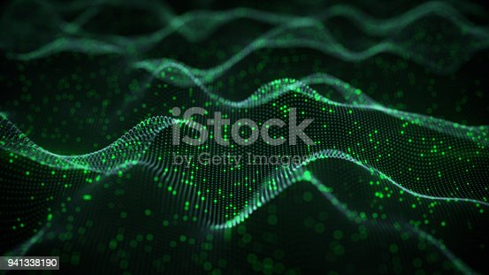 istock Glowing green neural network 3D rendering 941338190