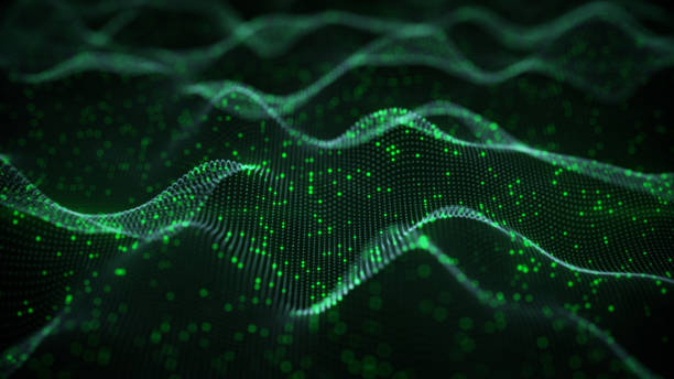 glowing green neural network 3d rendering - wave pattern stock pictures, royalty-free photos & images