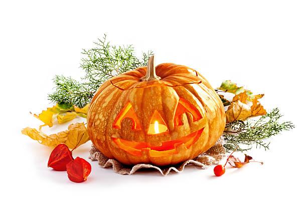 Glühend Halloween Kürbis auf isoliert Weißer Hintergrund – Foto