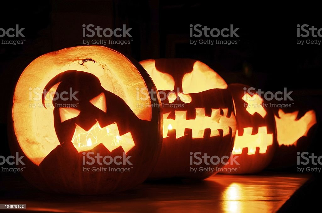 Glowing Halloween Pumpkins royalty-free stock photo