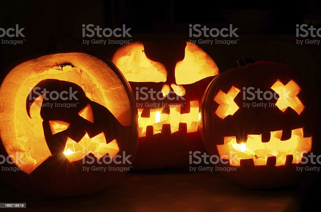 Glowing Halloween Pumpkins royalty-free stock photo