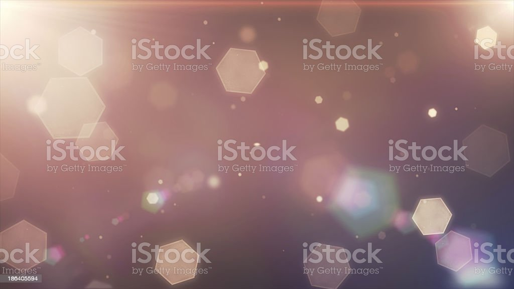 Glowing hexagons, bokeh, cool abstract balls, vibrant backgrounds stock photo