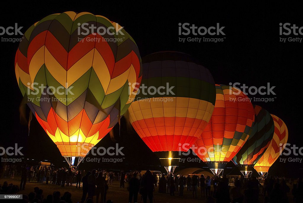 Glowing hot air balloons royalty free stockfoto