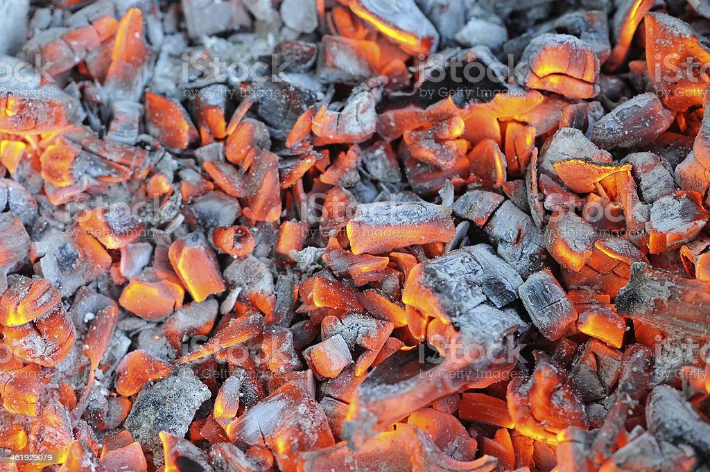 Glowing Hot Wood Embers stock photo