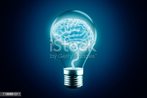 Glowing human brain cortex in a lightbulb on a blue background. 3d rendering illustration. Idea, intelligence or intellect, cognition, imagination, learning, think, knowledge, studies concept.