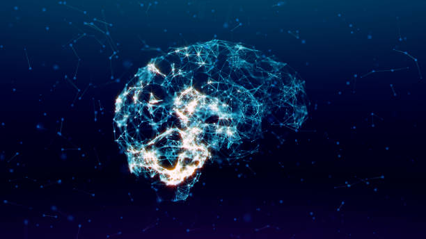 Glowing human brain with nerve cells. stock photo