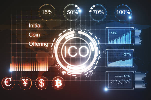 Glowing ICO backdrop Creative glowing ICO backdrop. Cryptocurrency concept. 3D Rendering initial coin offering stock pictures, royalty-free photos & images