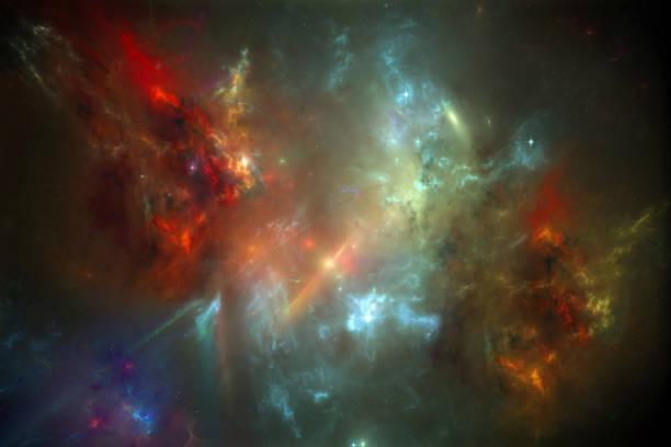 Glowing Interstellar Gas clouds Nebula and galaxies. stock photo