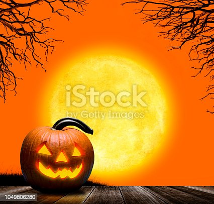 A glowing jack o'lantern sits in front of a rising full moon and a brilliant orange sky.  A bare trees are silhouetted in the background.