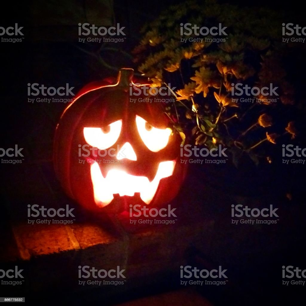 Glowing Jack-O'-Lantern stock photo
