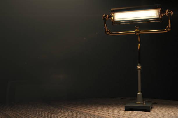 glühende lampe im stil von steampunk - nachttischleuchte stock-fotos und bilder