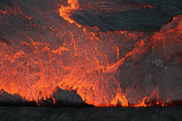 Glowing lava in Erta Ale volcano stock photo
