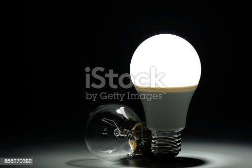 854468792 istock photo Glowing led lamp and incandescent bulb in the dark 855270362