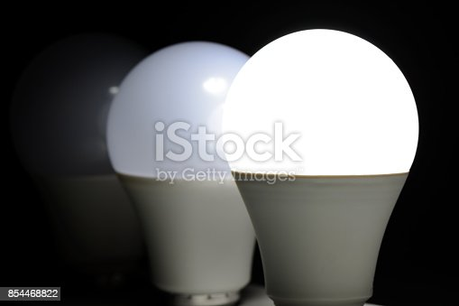 854468792 istock photo Glowing led light in the dark 854468822