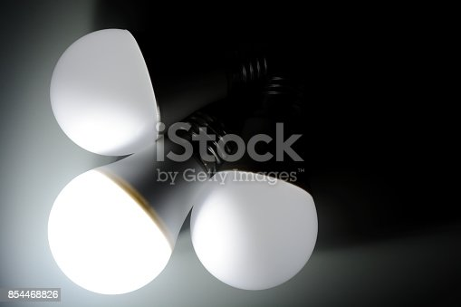 854468792 istock photo Glowing led light in the dark 854468826
