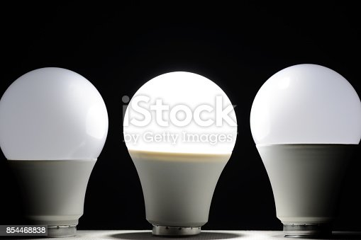 854468792 istock photo Glowing led light in the dark 854468838