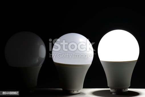 854468792 istock photo Glowing led light in the dark 854468862