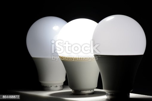 854468792 istock photo Glowing led light in the dark 854468872