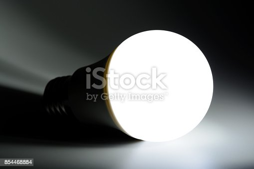 854468792 istock photo Glowing led light in the dark 854468884