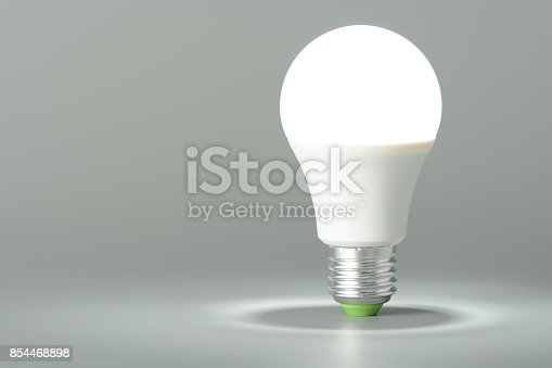 istock Glowing led light on gray background 854468898