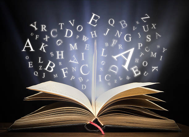 Glowing letters on book light - Photo