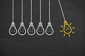 istock Glowing Light Bulb Innovation Concept on Chalkboard 622324778