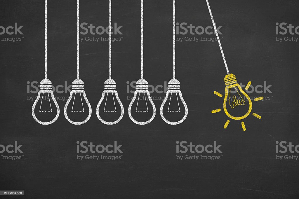 Glowing Light Bulb Innovation Concept on Chalkboard stock photo