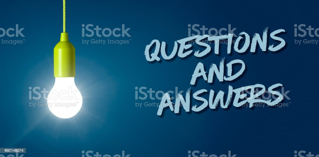 Glowing light bulb - Questions and Answers stock photo