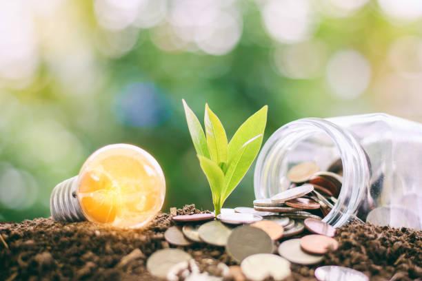 ampoule incandescent avec petite plante de plus en plus de pièces de monnaie du sol et de l'argent dans le pot de verre contre le flou fond vert naturel avec espace de copie pour les finances, économiser de l'énergie et environnement concept - rse photos et images de collection