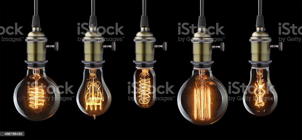 glowing light bulbs stock photo